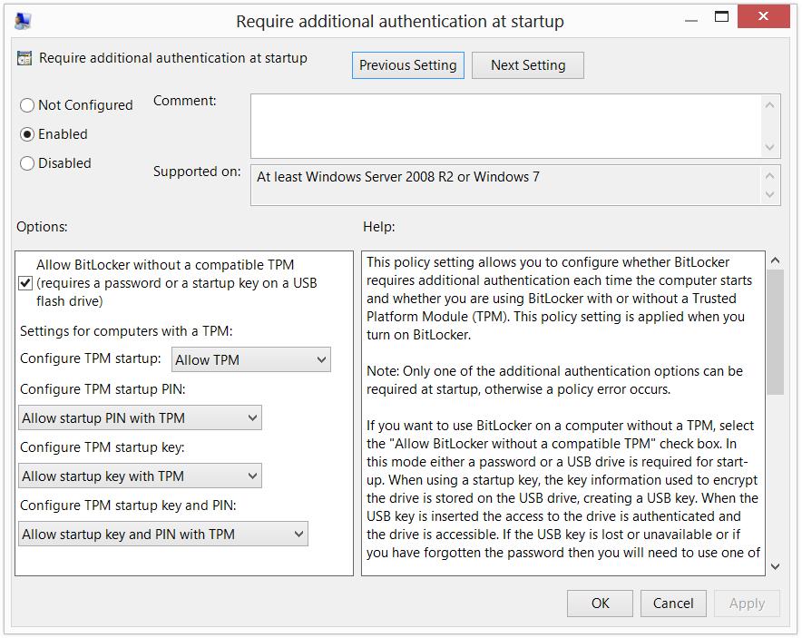 BitLocker Encryption on Windows 8 without TPM (Go back